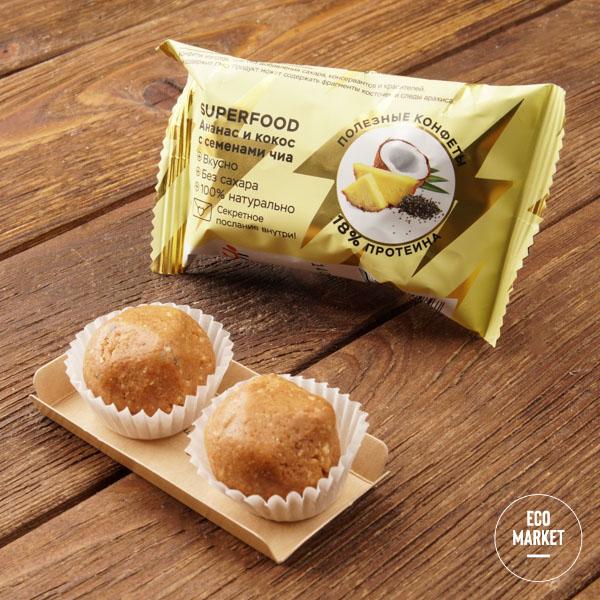 Конфеты орехово-фруктовые«Ананас и кокос с семенами чиа», Jump premium - 28 г
