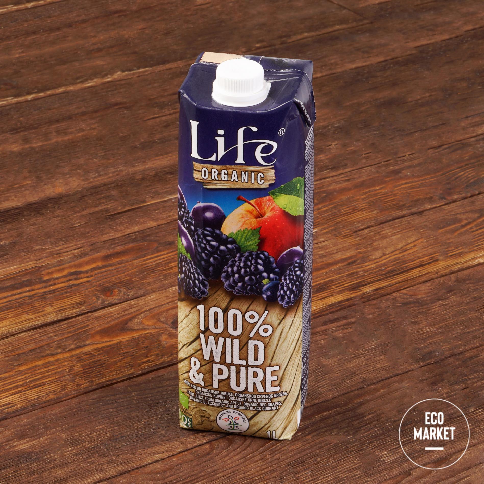 Сок мультифруктовый Wild & Pure БИО, Life Premium ~ 1 л.