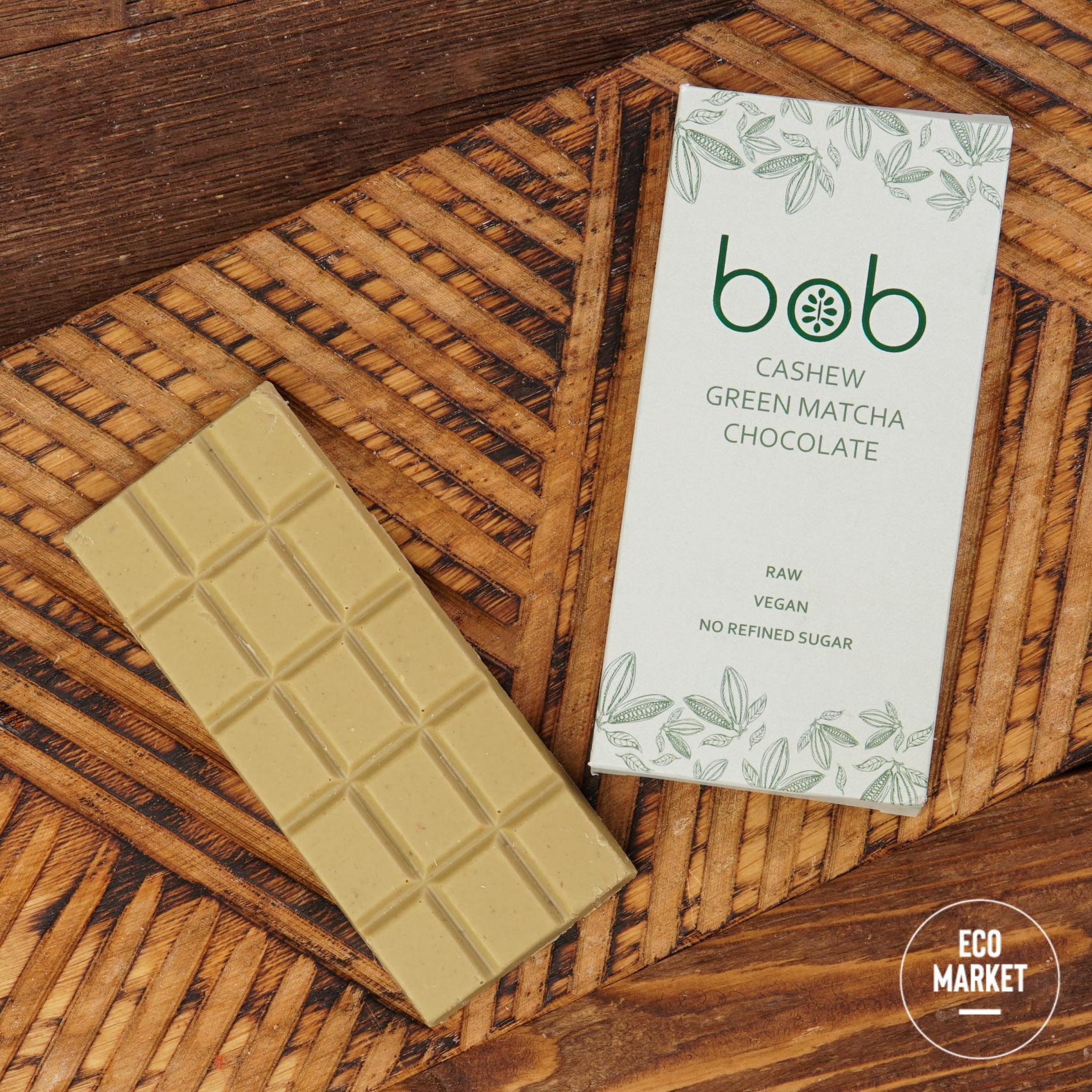 Шоколад с зелёным чаем матча на кешью и зелёной гречке, bob - 50 г (1 шт)