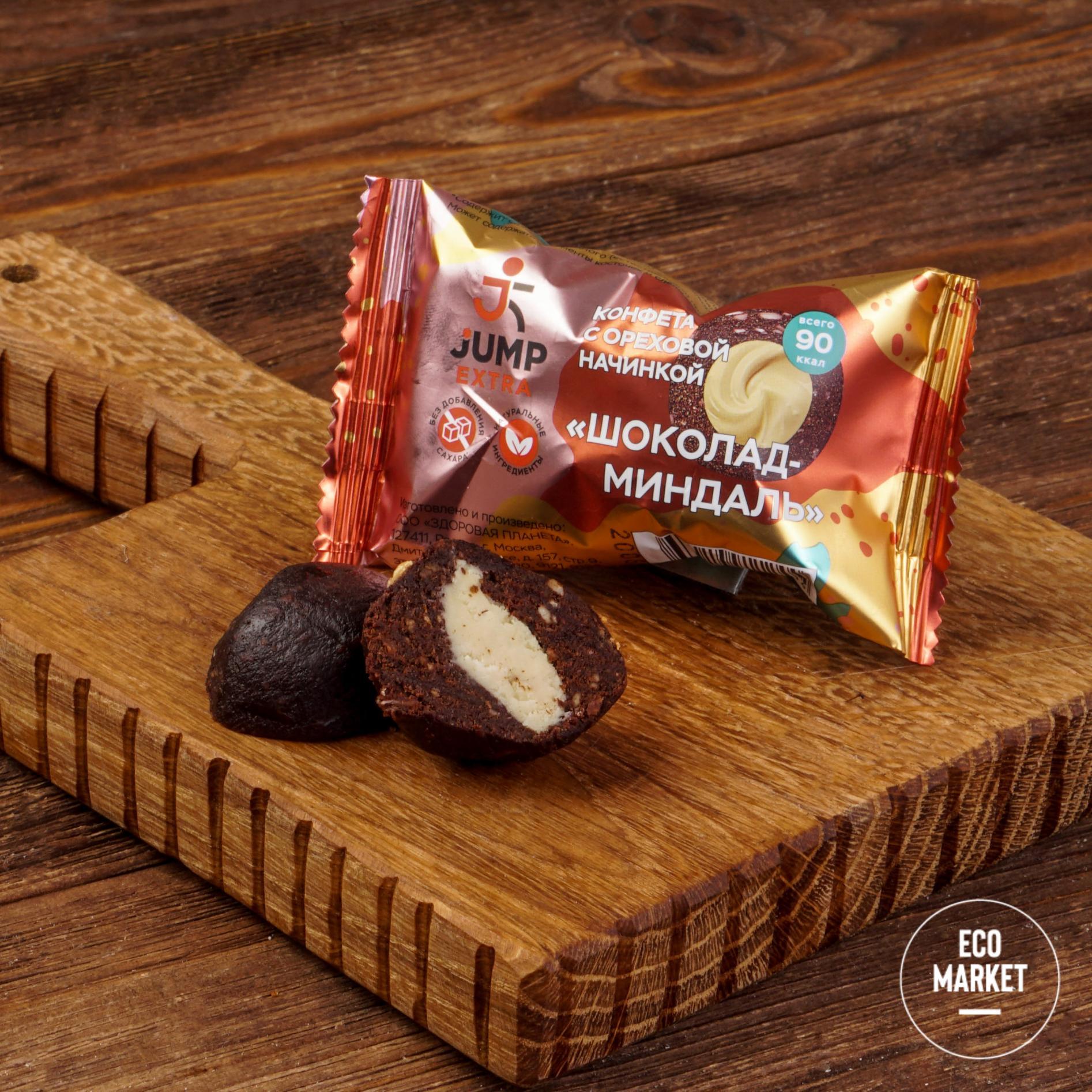 Конфета с ореховой начинкой Шоколад-миндаль, Jump Extra - 30 г