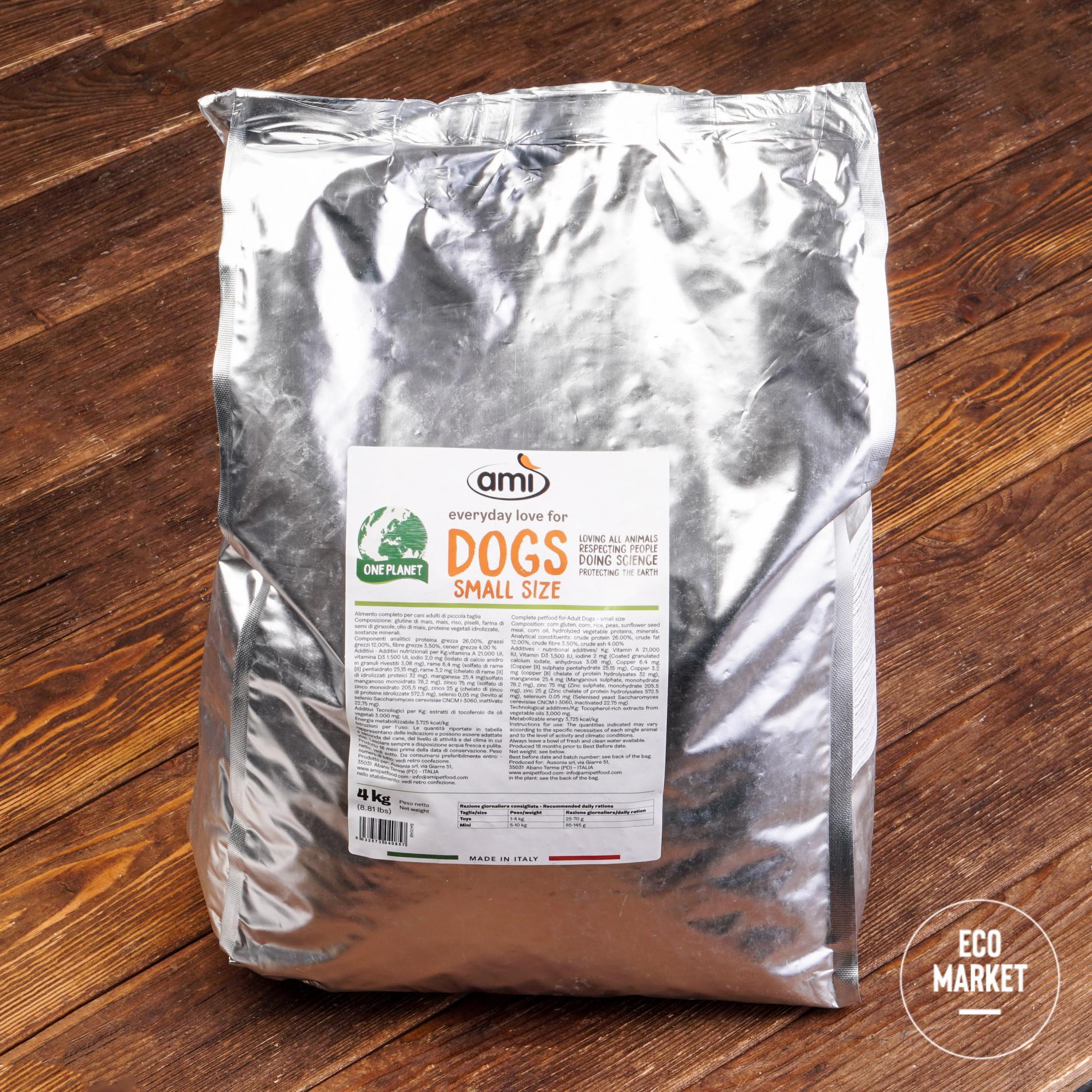 Корм веганский сухой для маленьких собак, AMI DOG - 4 кг (1 шт)