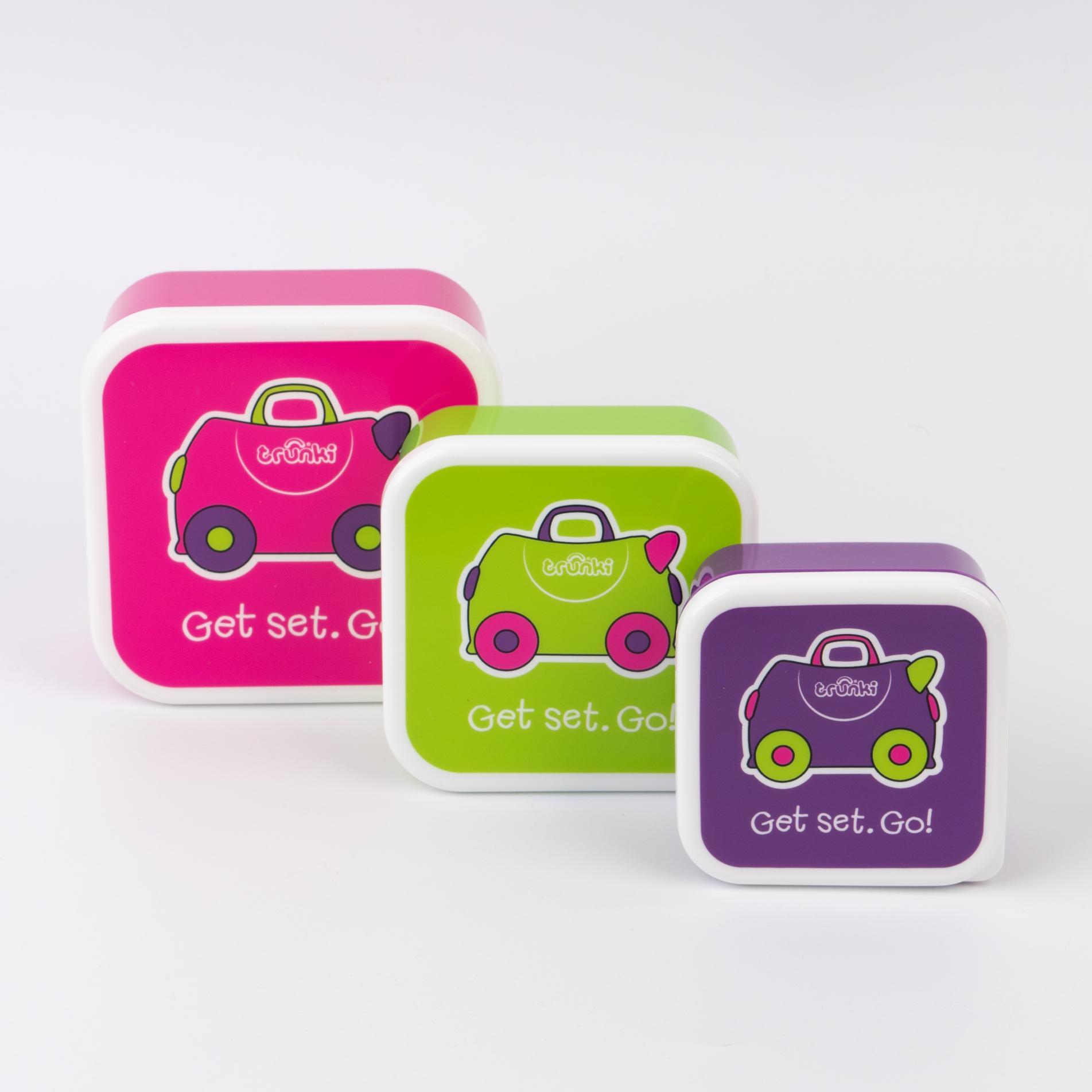 Контейнеры для еды розовый,фиолетовый,зеленый - 3 шт
