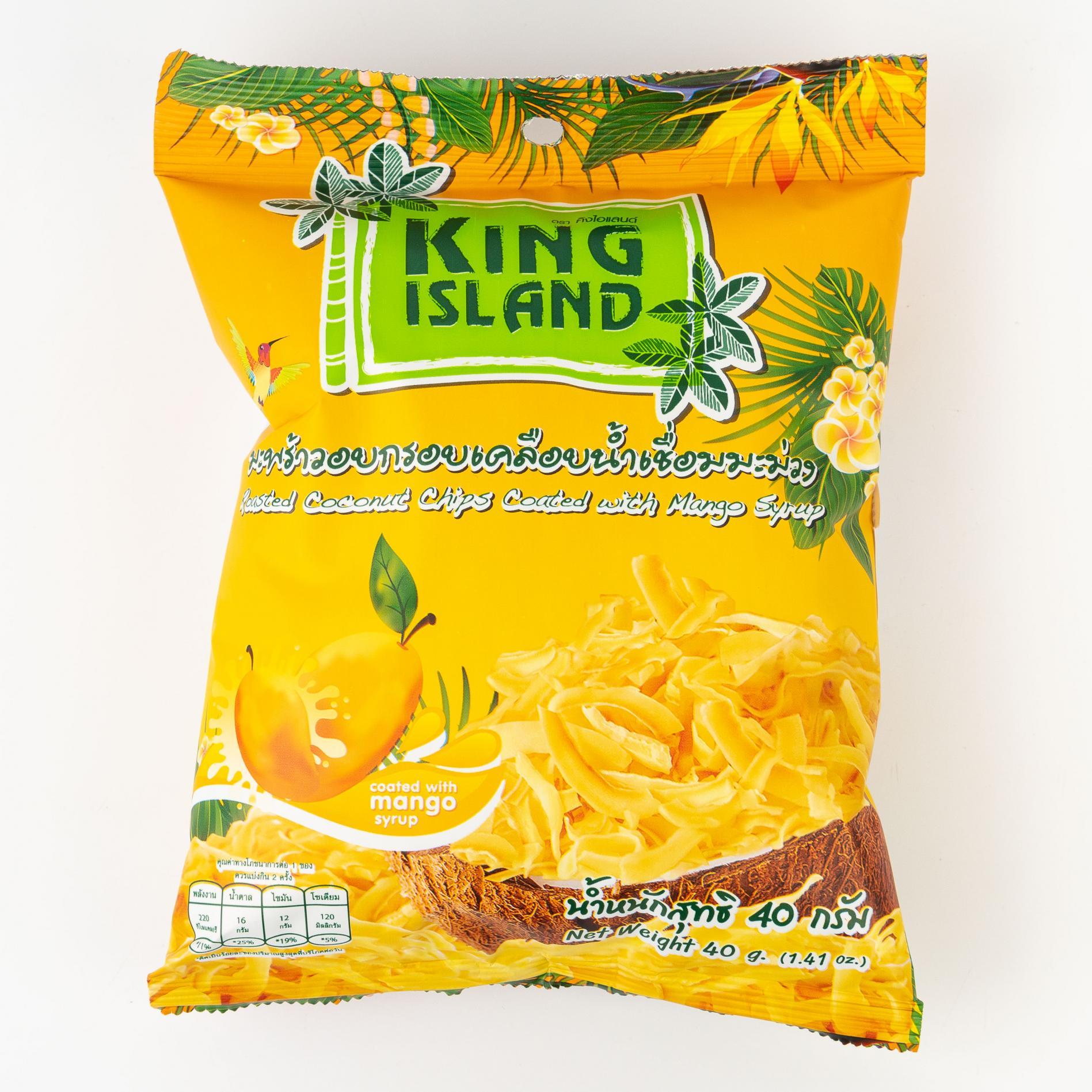 Кокосовые чипсы KING ISLAND со вкусом манго - 40 г